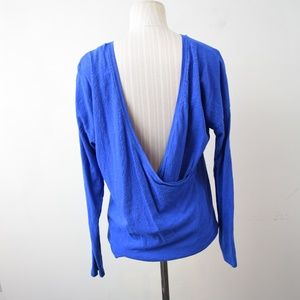 Lucy Perfect Pose Top Blue Medium Open Back Wrap